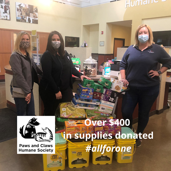 Paws and Claws Donation 2021 First Alliance Credit Union