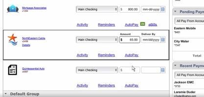 Electronic Bill Pay Screenshot  | First Alliance Credit Union