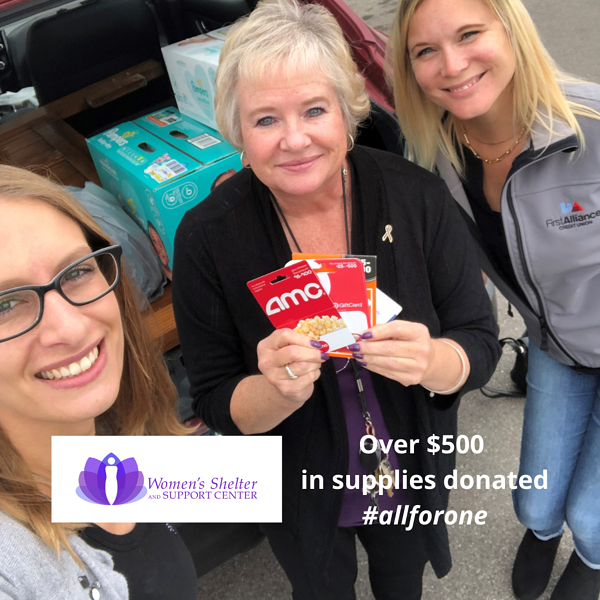 Womens Shelter Donation 2021 First Alliance Credit Union