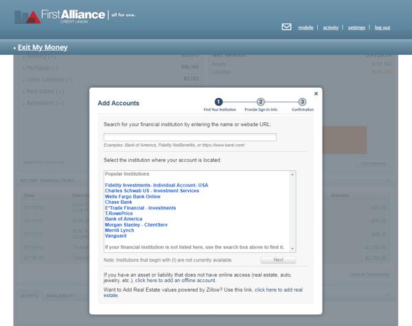 Add Account Widget My Money Tool First Alliance Online Banking