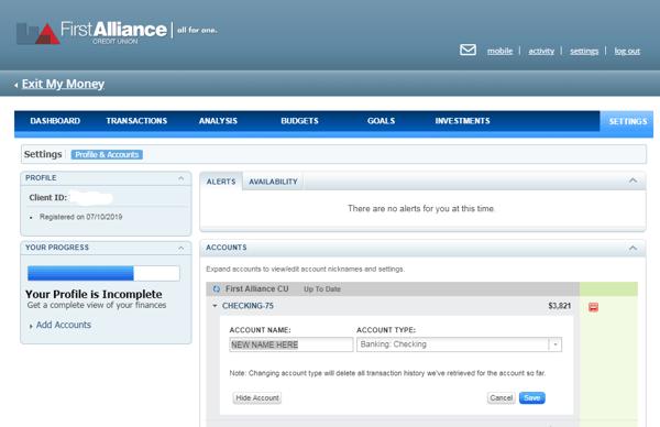 My Money Account Name Reset Example Screen