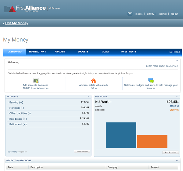 First Alliance Credit Union My Money Dashboard Screen Example