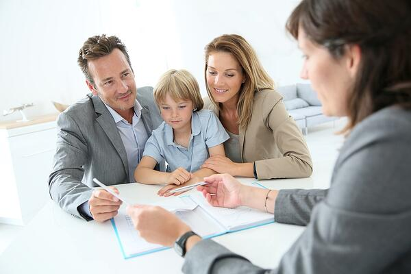 Family meeting credit union loan officer to get a preapproved auto loan