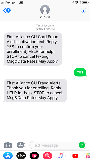 First Alliance Credit Union Fraud Alerts Activation Text Opt-in
