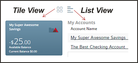 First Alliance Credit Union | Online Banking | Tile vs List View