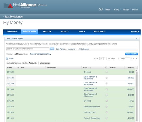 My Money Transactions Screen Exmaple
