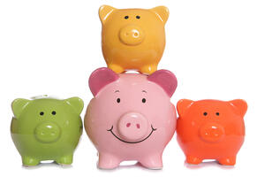 Several multicolored piggy banks with the central piggy bank smiling   First Alliance Credit Union