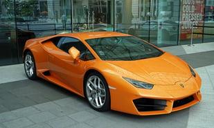 Lamborghini in front of store